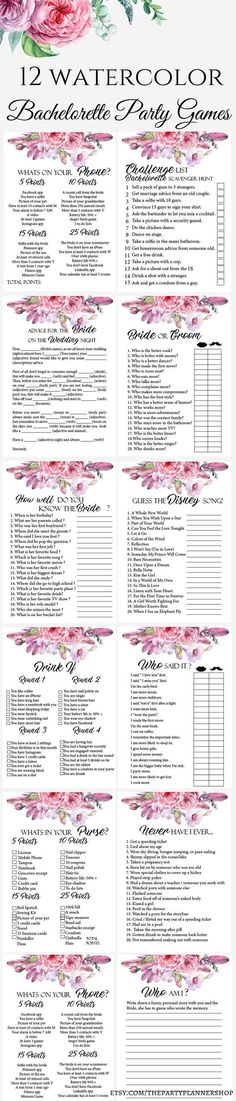 Excited to share the latest addition to my #etsy shop: 12 Pink Watercolor Floral Bachelorette Party Games, Printable Bachelorette Party Game, Bridal Shower Game, Hens Night Game http://etsy.me/2mRRwzF