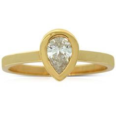 Karen Walker yellow gold .50ct diamond ring  Imagine the look in her eyes.... This elegant solitaire ring from Karen Walker boasts a sparkling pear cut diamond set in yellow gold.