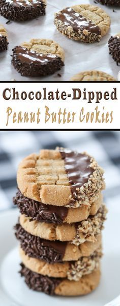 This chocolate-dipped peanut butter cookies look as pretty as they delicious!