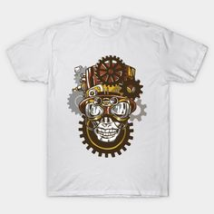 Steampunk Skull with Hat and Goggles - Skull - T-Shirt | TeePublic.  Cool skull wearing steampunk style accessories such as goggles and a top hat with gears on the background. Great design for the steampunk enthusiast. Steampunk Fashion, Gears, Fashion Accessories, Skull, Hat, Mens Tops, T Shirt, How To Wear, Design