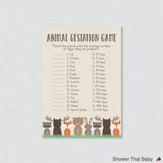 Woodland Baby Shower Animal Gestation Game by ShowerThatBaby
