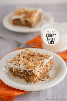 Toasted Coconut Carrot Sheet Cake | www.tasteandtellblog.com