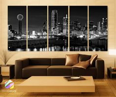 XLARGE 5 Panels Art Canvas Print beautiful Dallas tx Skyline Black & White Wall Home (Included framed depth) Condo Living, Living Room Decor, Bedroom Decor, Wall Decor, Dallas Skyline, Skyline Painting, Panel Art, Canvas Art Prints, Painting Canvas
