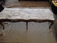 Vtg Italian Hollywood Regency Carved Wood Marble Gold Coffee Table Tables