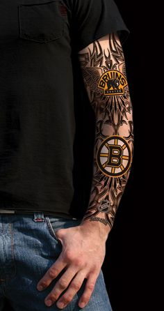 Bruins tattoo for women | Hover to zoom detail, click for full image