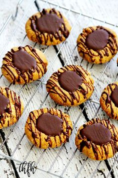 This healthy, easy Gluten-Free Vegan Flourless Chocolate Peanut Butter Thumbprint Cookies recipe is the best ever! { The Healthy Family and Home } Flourless Dessert Recipes, Peanut Butter Dessert Recipes, Healthy Chocolate Desserts, Vegan Baking Recipes, Flourless Chocolate, Flour Recipes, Vegan Food, Cooking Recipes, Easy Sugar Cookies