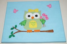 Hand-Painted Owl Wall Art - Girl Owls - 8x10 Acrylic Canvas Painting - Owl Decor on Etsy, $36.00
