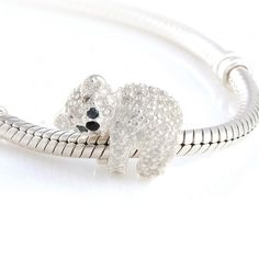 925 Sterling Silver Lovely koala Bear Bead with Crystals Fits For European Style…