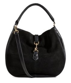 Hobo bag in grained imitation leather with genuine suede front section. Adjustable handle, carabiner hook and magnetic fastener at top, detachable shoulder strap, and three inner compartments, one with zip. Suede Handbags, Hobo Handbags, Shoulder Handbags, Cross Body Handbags, Ladies Handbags, Leather Hobo Bags, Fall Bags, Black Shoulder Bag, Shoulder Bags