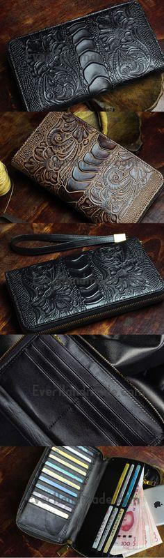 Handmade Long Leather Wallet Crocodile Style Leather Zip Clutch Wallet