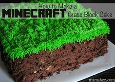 This Minecraft Grass Block Cake tutorial is perfect for any kids Minecraft birthday party!