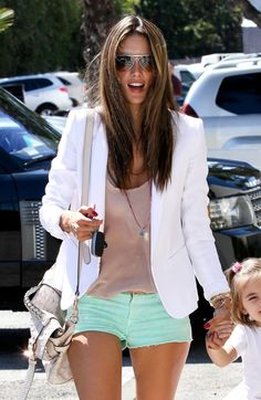 white blazer, nude nude tank, and mint jean shorts - The best of pinterest