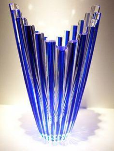 Crystal Cobalt Blue Vase Czech Rep Bohemian Art Glass Mikado Cut Cased