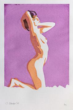 Kneeling Nude Woman Screen Print