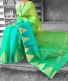 Elegant Kota Silk Saree with Temple Border