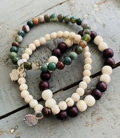 Love greens, browns and whites, then this set is for you. Bohemian Bracelets, Boho Jewelry, Fine Jewelry, Jewellery, Leather Cuffs, Leather Cord, Beaded Necklace, Beaded Bracelets, Strand Bracelet
