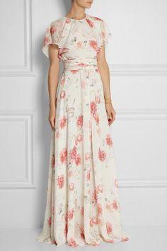 Giambattista Valli Floral-print Silk-georgette Gown — UFO No Flower Dresses, Modest Dresses, Pretty Dresses, Beautiful Dresses, Summer Dresses, Formal Dresses, Wedding Dresses, Skirt Outfits, Dress Skirt