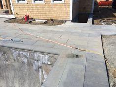 Blustone pool surround in progress Nantucket