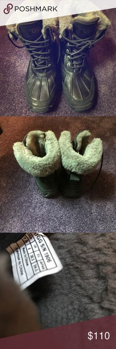 Rain/Snow Uggs boots Great condition Black snow/ rain Uggs boots. Wore a couple of times. Just need to be cleaned, and then they would be brand new. I'll clean the a little before I mail them out. They are perfect and comfortable for rain and snow. I sold another pair as well. UGG Shoes Winter & Rain Boots