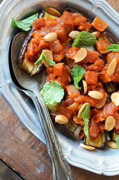Eggplant with Tomato Compote, Toasted Almonds, & Fresh Mint