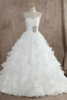 Charming+A-Line+Sweetheart+Natural+Train+Organza+Sleeveless+Lace+Up-Corset+Wedding+Dress+with+Ruffles+b12172