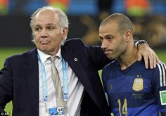 Down and out: Mascherano (right) and Argentina coach Alejandro Sabella (left) look dejecte. Alejandro Sabella, Salsa, World Cup Final, World Cup 2014, Barcelona, Finals, Mens Sunglasses, Life, Style