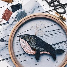 Fish embroidery on tulle
