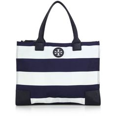 Tory Burch Packable Striped Tote ($235) ❤ liked on Polyvore featuring bags, handbags, tote bags, apparel & accessories, navy, striped tote bag, navy blue handbags, nylon tote, blue tote bag and navy tote