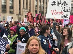 """""""#WhyWeMarch Women's Rights"""" - Protestors gather at the Women's March on Washington, January 21, 2017.  Photo credit: Fight Back! News — in Washington, District of Columbia."""