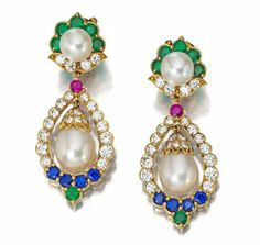 A pair of diamond, emerald, sapphire, ruby and cultured pearl ear pendants, Van Cleef & Arpels