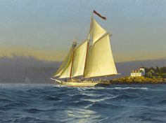 """""""Isaac H. Evans off Rockport, Maine,"""" by Neal Hughes. Oil on canvas, 30"""" x 40."""" Available at Maine Art Paintings and Sculpture."""