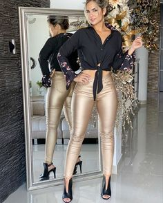 Shop the latest arrivals at SHEIN, always stay ahead of the fashion trends. Hundreds of new looks updated every day! Leather Look Jeans, Leather Pants Outfit, Cool Outfits, Fashion Outfits, Women's Fashion, Fashion Trends, Women's Dresses, Beautiful High Heels, Tight Leggings