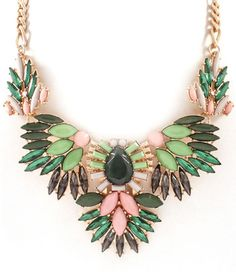 Ruche Statement Necklace In Green Peachy Queen Boutique