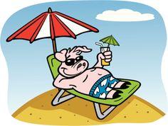Cochon en vacances à la plage