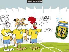 Charge do Dum (Zona do Agrião) sobre o clássico entre Brasil e Argentina no Mineirão (10/11/2016) #Charge #Dum #Futebol #CBF #AFA #Clássico #Brasil #Argentina #Mineirão #HojeEmDia