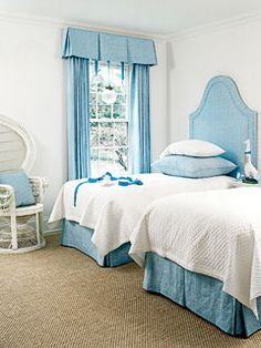 One fabric on multiple surfaces brings color to this guest bedroom.