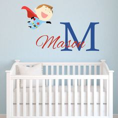 Personalized Superhero Wall Decal for Boys, Superhero Name Nursery Monogram Vinyl Wall Decals, Vinyl Lettering Boys Bedroom Wall Decor