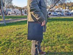 iPad Case, Leather Messenger Bag Crossbody, MEDIUM SIZE Universal Tablet Case. Vertical Shoulder Bag. Black Leather, Handmade in Greece. by LeatherStrata on Etsy