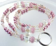 Pink Crystal and Glass Pearl Beaded Lanyard, ID Badge Holder, ID Necklace Holder, Badge Clip Necklace by mmojewelry on Etsy Lanyard Necklace, Necklace Holder, Jewelry Holder, Vintage Jewelry Crafts, Handmade Jewelry, Diy Jewelry, Ankle Bracelets, Beaded Bracelets, Necklaces