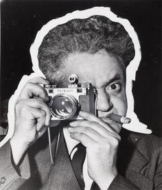 Self-portrait with distortion, circa 1955. Pic by Weegee