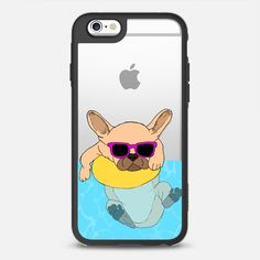 Swimming Frenchie by Megan Roy - protective iPhone 6 phone case in Black and Clear by @hellogiggles | @casetify