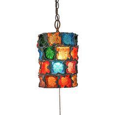 1960s VTG Feders Brutalist Glass Hanging Swag Lamp Pendant Light Fixture Retro #swag #antique