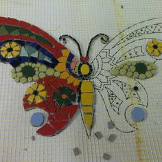 Mosaic butterfly work in progress Butterfly Mosaic, Mosaic Birds, Mosaic Wall Art, Glass Butterfly, Mosaic Diy, Mosaic Crafts, Mosaic Projects, Mosaic Planters, Mosaic Garden