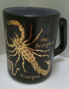 Fire King Milk Glass Scorpio Zodiac Horoscope Coffee Mug Scorpion Cup Black Gold #AnchorHockingFireKing