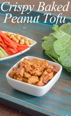 Crispy Baked Peanut Tofu - you have got to try this tofu! It's crispy without any added oil, high protein and so easy!