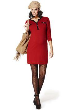 Ropa premama: Vestido Marni  Vestido de tricotosa 3/4 en hilo de elástico bicolor rojo con vivos en negro y escote de pico. Botones en oro viejo.