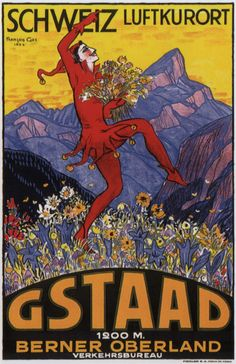 Gstaad High Resolution Vintage Art Poster, 1924