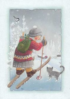 Kaarina Toivanen - Come On, Get a Good Christmas Series Christmas Clipart, Felt Christmas, Vintage Christmas, Winter Illustration, Christmas Illustration, Chrismas Cards, Xmas Greetings, Winter Love, Artists For Kids