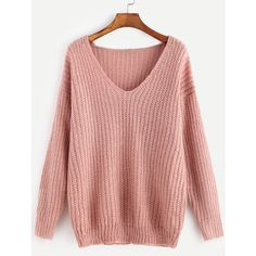 SheIn(sheinside) Pink Ribbed Knit V Neck Drop Shoulder Sweater found on Polyvore featuring polyvore, women's fashion, clothing, tops, sweaters, pink, v-neck pullover sweater, v neck sweater, red sweater and loose sweaters