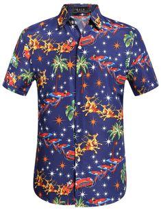 9a162f9e SSLR Men's Santa Claus Party Tropical Ugly Hawaiian Christmas Shirts ...